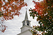 Fall Leaves Framed Prints - Franklin Steeple Framed Print by Deborah Benoit