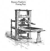 Franklin Press Prints - Franklins Printing Press Print by Granger