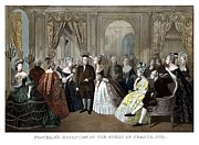 Founding Fathers Painting Prints - Franklins Reception At The Court Of France Print by War Is Hell Store