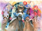 Thoroughbred Posters - Frantic Finish Poster by Arline Wagner