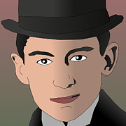 Prague Mixed Media - Franz Kafka Cartoon Portrait by Binary Options