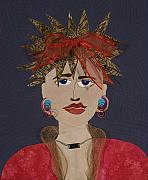 Portraits Tapestries - Textiles Metal Prints - Frazzled Metal Print by Carol Ann Waugh