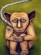 Creepy Painting Metal Prints - Freak On A Leash Metal Print by Leah Saulnier The Painting Maniac