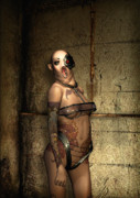 Horror Digital Art - Freaks - The Second Girl in the Basment by Luca Oleastri