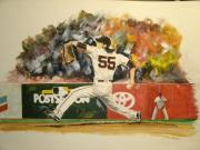 World Series Painting Framed Prints - Freaky Tim Lincecum Framed Print by Phil  King