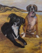 Boxer Paintings - Fred and Bentley by Laurie Golden