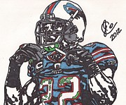 Player Drawings Posters - Fred Jackson Poster by Jeremiah Colley