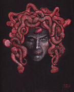 Horror Drawings Posters - Freddie Medusa Poster by Mon Graffito