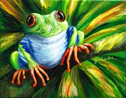 Red-eyed Tree Frog Painting Prints - Freddy Print by JoAnn Wheeler