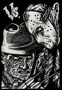 Jason Voorhees Prints - Freddy Vs Jason Print by N Emesis