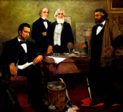 Frederick Douglass Painting Metal Prints - Frederick Douglass appealing to President Lincoln Metal Print by War Is Hell Store