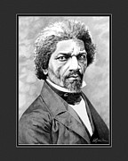 Frederick Douglass Drawings Framed Prints - Frederick Douglass with digital mat Framed Print by Elizabeth Scism