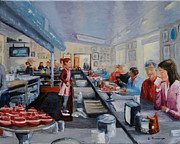 Waitress Posters - Freds Breakfast of New Hope Poster by Cindy Roesinger