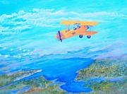 Biplane Paintings - Free as a Bird by Dennis D Vebert