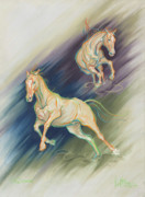 Horses Pastels Framed Prints - Free Expression Framed Print by Kim McElroy