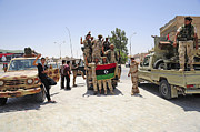 Technical Prints - Free Libyan Army Troops Pose Print by Andrew Chittock