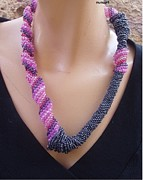 Beadwork Jewelry - Free Spiral Necklace In Pink And Black by Nurit Schlomi von-strauss