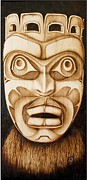 Canada Art Pyrography Prints - Free Spirit Mask Print by Cynthia Adams