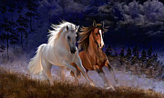 Wild Horses Digital Art Prints - Free Spirits Print by Thanh Thuy Nguyen