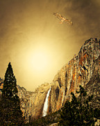 Yosemite Mixed Media Posters - Free To Soar The Boundless Sky . Portrait Cut Poster by Wingsdomain Art and Photography