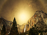 Mountain Mixed Media Posters - Free To Soar The Boundless Sky Poster by Wingsdomain Art and Photography