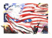 American Flag Mixed Media - Freedom by Anthony Burks