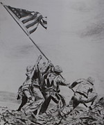 Marines Drawings Framed Prints - Freedom Framed Print by Brian Hustead