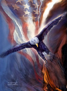 American Flag Mixed Media - Freedom Eagle by Carol Cavalaris