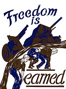 Ww2 Mixed Media Posters - Freedom Is Earned Poster by War Is Hell Store