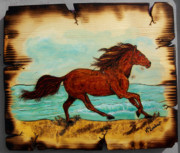 Horse Pyrography Prints - Freedom Print by Kenneth Lambert