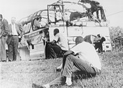 Freedom Riders Bus Was Destroyed Print by Everett