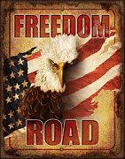 American Flag Framed Prints - Freedom Road Sign Framed Print by JQ Licensing