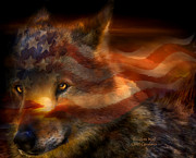 American Flag Mixed Media Acrylic Prints - Freedom Wolf Acrylic Print by Carol Cavalaris