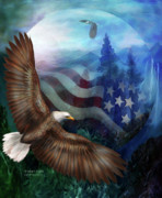 Bald Eagle Mixed Media Framed Prints - Freedoms Flight Framed Print by Carol Cavalaris