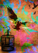 Release Mixed Media Posters - Freedoms Flight Poster by Tammera Malicki-Wong