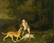 Dog Paintings - Freeman - The Earl of Clarendons Gamekeeper by George Stubbs