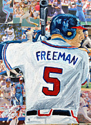 Major League Baseball Mixed Media Framed Prints - Freeman At Bat Framed Print by Michael Lee