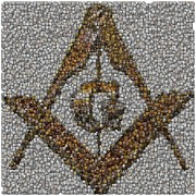Coin Mixed Media Prints - Freemason Coin Mosaic Print by Paul Van Scott