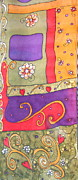 Vibrant Tapestries - Textiles Prints - Freestyle Pattern Print by Yvonne Feavearyear