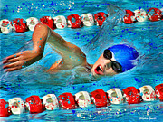 Swimmers Metal Prints - Freestyle Metal Print by Stephen Younts
