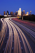Workplace Framed Prints - Freeway Traffic at Dusk on I-30 Framed Print by Jeremy Woodhouse