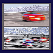 Driving Mixed Media - Freeway Traffic Diptych by Steve Ohlsen