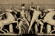Greek Sculpture Prints - Freeze from the Parthernon 1 Sepia Print by Linda Phelps