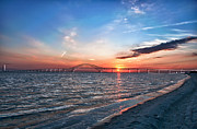 Freezing Prints - Freezing Sunset robert moses Bridge On The Great South Bay Print by Linda Pulvermacher