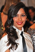 Black Tie Framed Prints - Freida Pinto At Arrivals For Alexander Framed Print by Everett