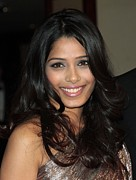 Pink Lipstick Prints - Freida Pinto At Arrivals For Arrivals - Print by Everett