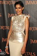Peach Dress Framed Prints - Freida Pinto At Arrivals For Immortals Framed Print by Everett