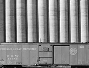 Elevators Prints - Freight Car And Grain Elevators Print by Everett