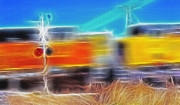 Train Mixed Media Prints - Freight Train at Railroad Crossing 2 Print by Steve Ohlsen
