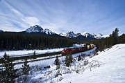 Alberta Rocky Mountains Prints - Freight Train Traveling On Morants Print by Zoltan Kenwell